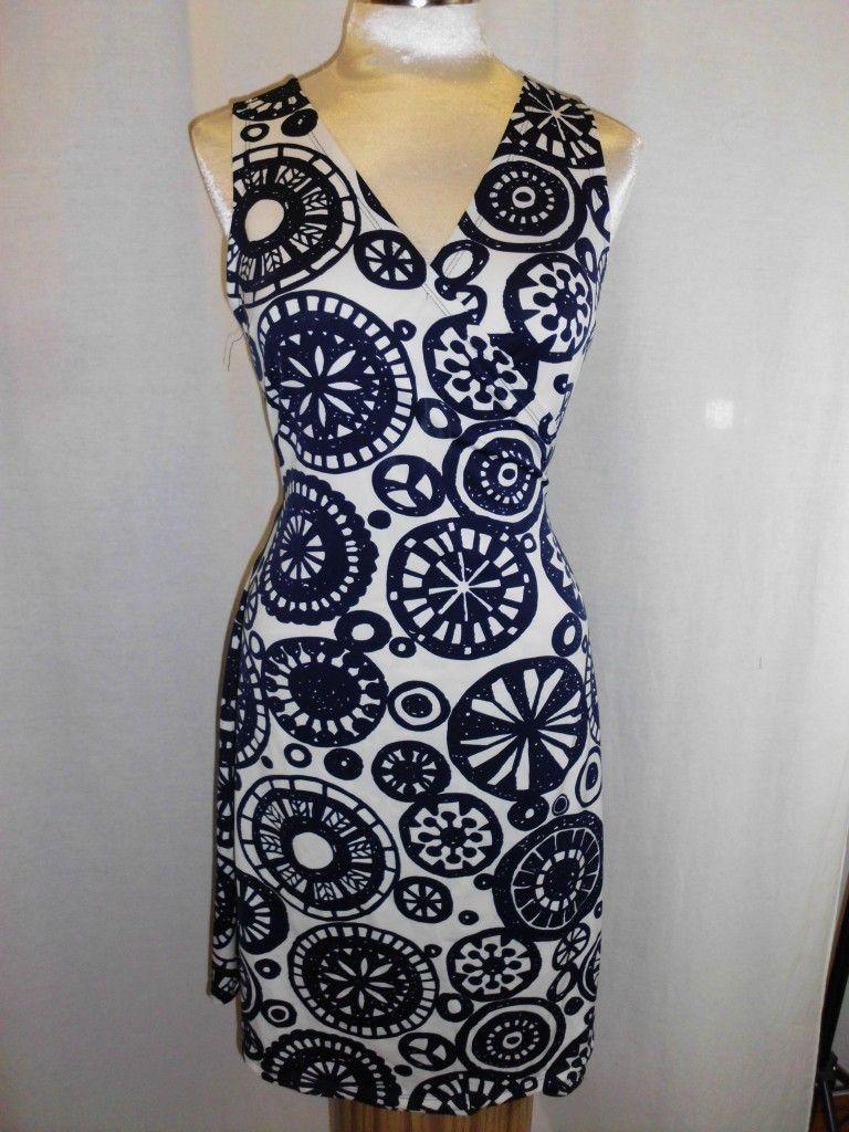 JB by Julie Brown White Blue Geometric Jersey Wrap Dress Size L