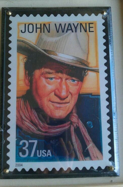 """John Wayne American Hero Commemorative 7"""" x 10 5"""" Satinwood Plaque RARE"""