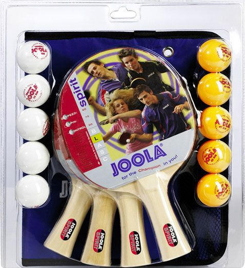 Joola Table Tennis Racket Family Set 4 Paddles 10 Balls