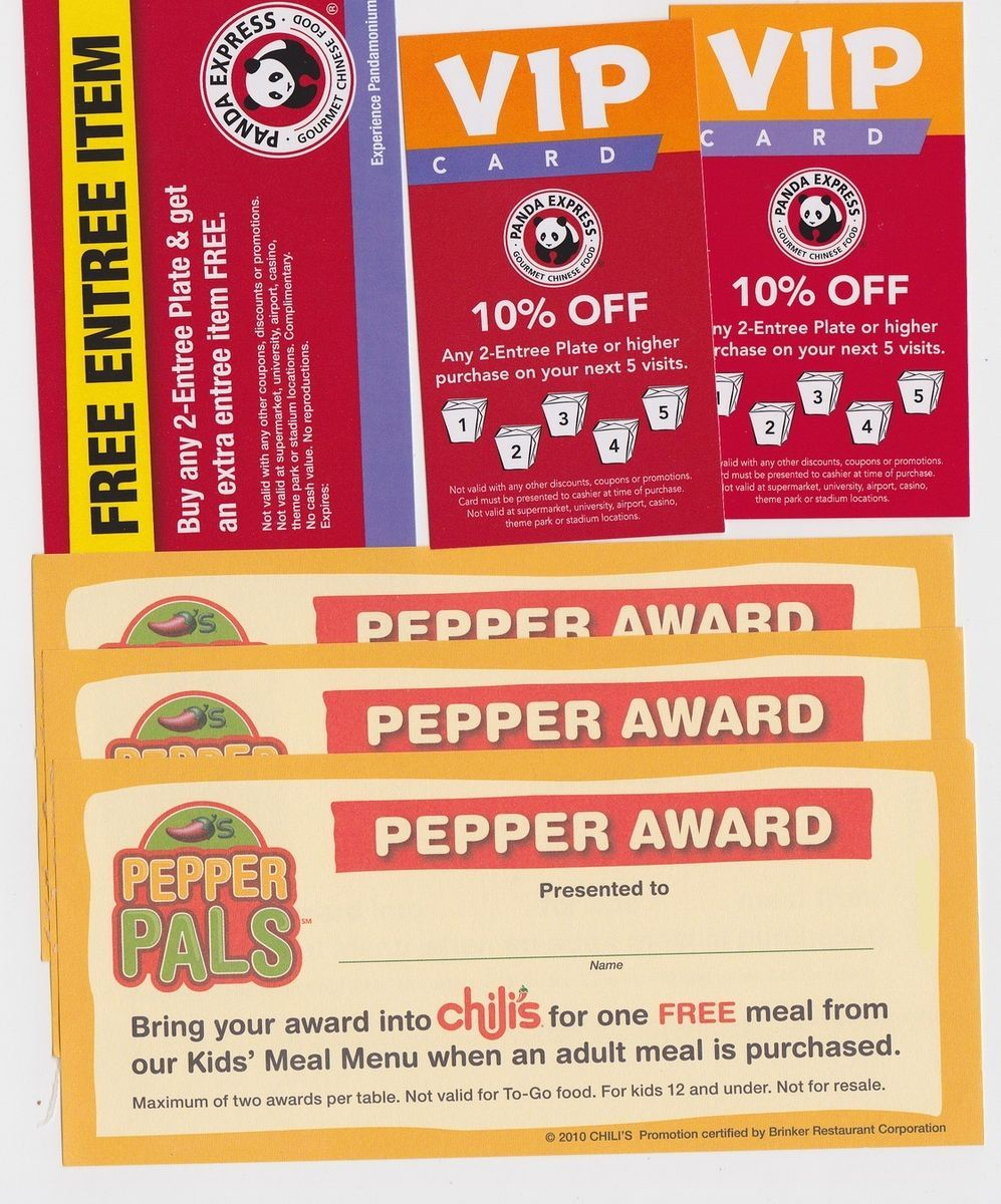 Panda Express Chilis Kids Meal Chinese Mexican Food Restaurant Gift