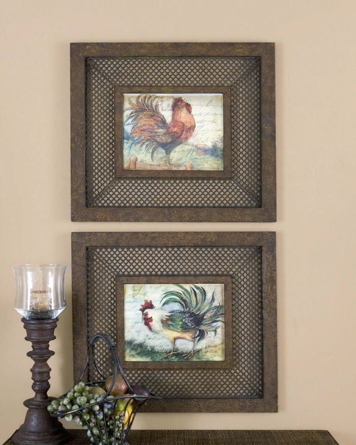 Shabby french country tuscan le rooster kitchen wall art for French kitchen artwork