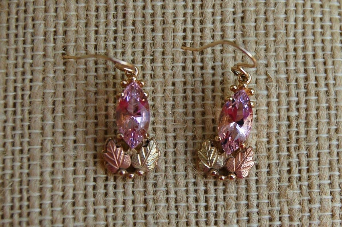 Black Hills Gold Pink Helenite Earrings
