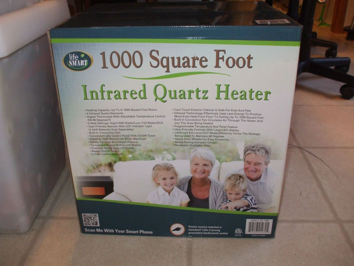 Life Smart 4 Element Quartz Infrared Portable Heater S 2PC 1000 750W
