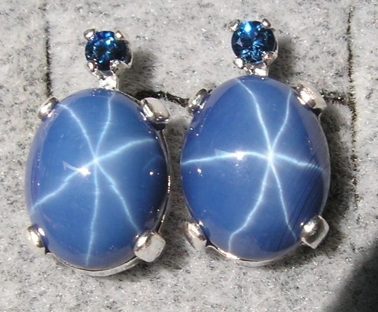 10x8mm Linde Blue Star Sapphire Created s s Earrings Nat Blue Sapphire