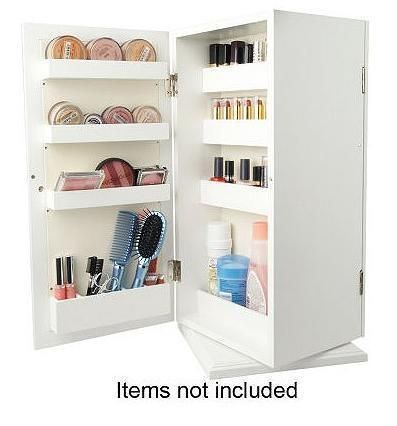 Mirrored Cosmetic Organizer by Lori Greiner WHITE Table Top NEW