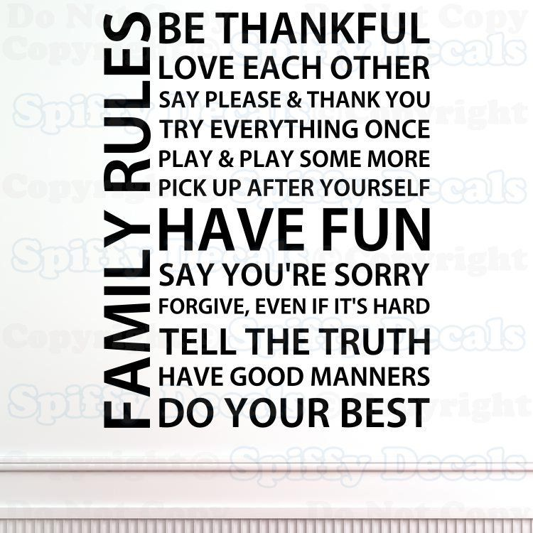 Have Fun Sorry Thankful Manners Quote Vinyl Wall Decal Sticker