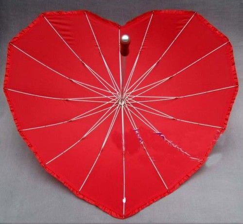 Long Handle Red Heart Love Umbrella Wedding S6
