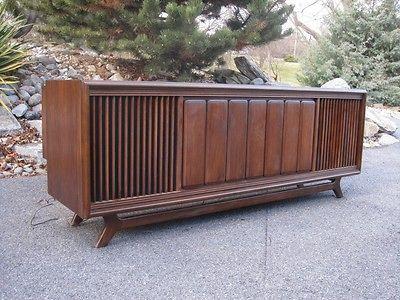 Credenza Console : Vintage stereo console credenza cabinet sylvania 60s mid century