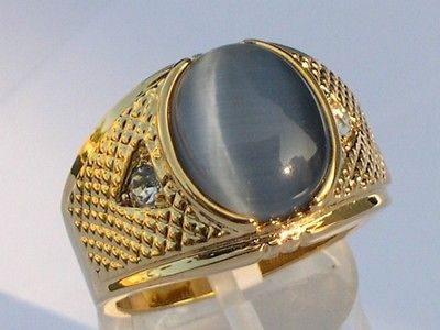 SEMI PRECIOUS TIGER EYE OVAL CUT GOLD PLATED MENS RING JEWELRY SIZE 9