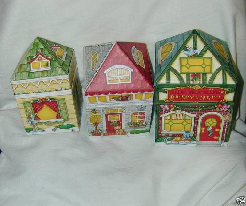 MARY ENGELBREIT CHRISTMAS HOUSE NESTING BOXES SET  NEW
