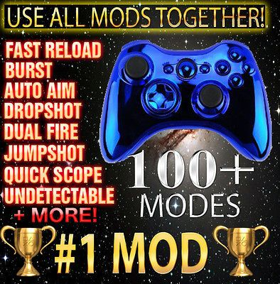 Blue Xbox 360 10000 Mode Undetectable Rapid Fire Modded Controller