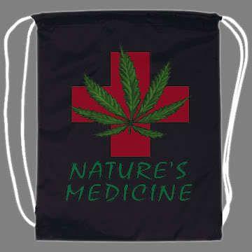 Medical Marijuana Pot Weed Drawstring Backpack tote bag