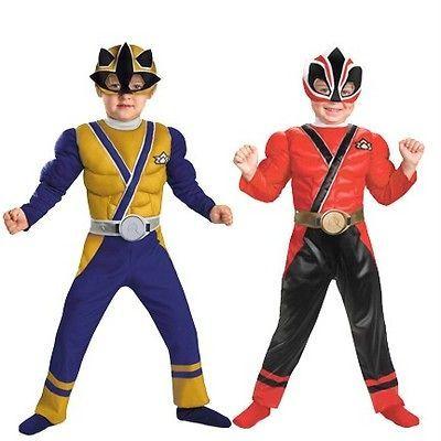 Boys Power Rangers Samurai MUSCLE GOLD RED RANGER Costume Size 2T 3/4T