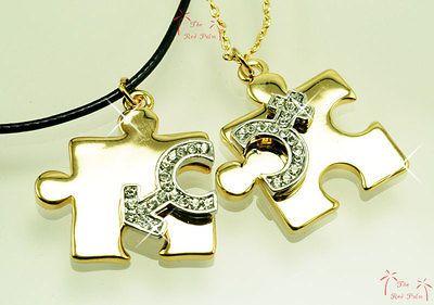 VALENTINE s COUPLE LOVER PUZZLE Pieces Pendant NECKLACE use SWAROVSKI