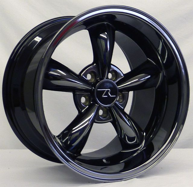 Dish Mustang Black Chrome Bullitt Wheels 17x9 10 5 fits 1994 04 Bullet