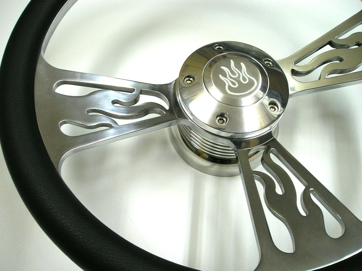14 Billet Flame Steering Wheel Black Halfwrap Set Horn Button Chevy