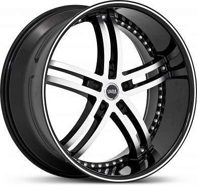 Knight 5 S816 Black Machined Wheels Rims 305 35 24 Tire Package