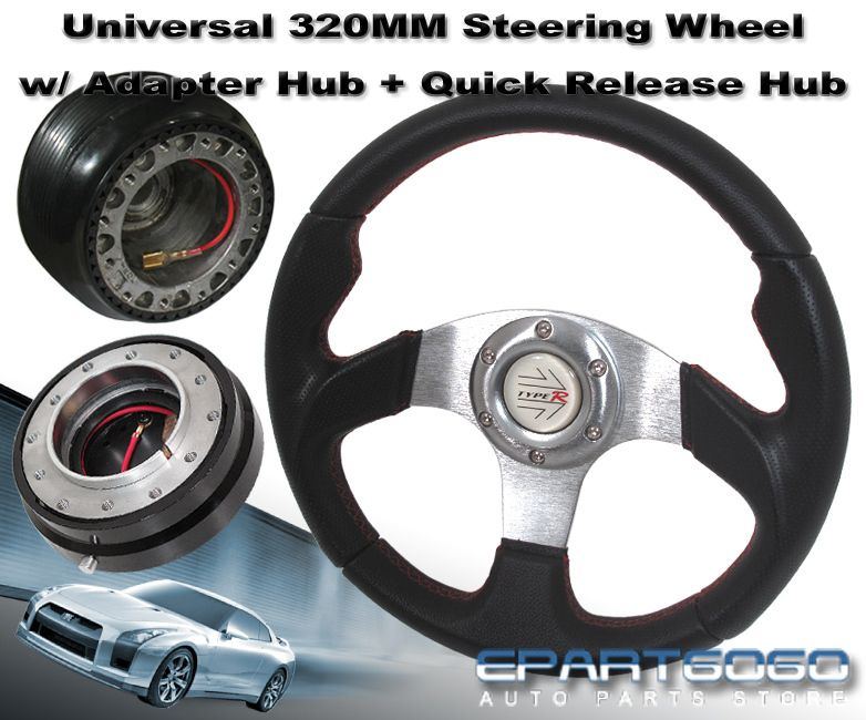 1988 1991 Prelude 320mm Black Steering Wheel Adapter Hub Quick Release